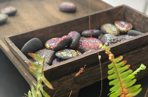 a photo of friendship stones in preschool