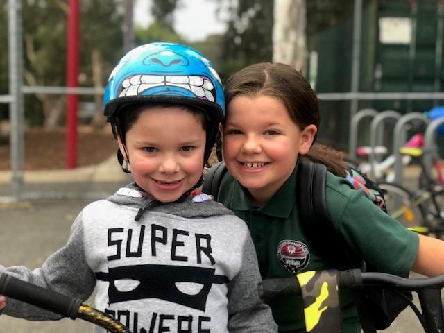 children bike ride to school